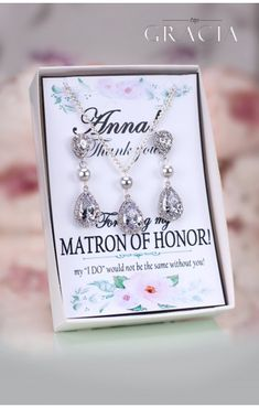 THAIS Matron of Honor Maid of Honor Crystal Jewelry Set Gift #topgraciawedding #weddingjewelry #weddingearrings #bridalearrings #crystaljewelry
