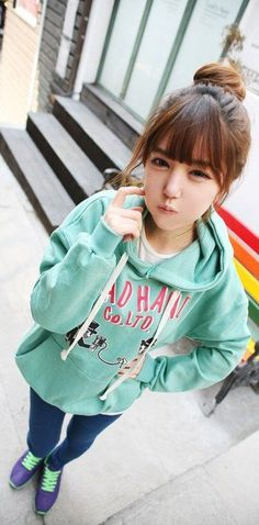 Cute lazy outfit with the mint green hoodie, blue jeans,and sneakers.