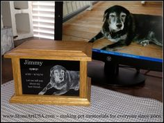 R.I.P. Jimmy ~ custom oak & granite pet urn by StoneArtUSA ... making pet memorials for everyone since 2001