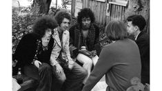 Sixties | Jimi Hendrix and members of The Jimi Hendrix Experience being interviewed at the Monterey International Pop Festival, June 18th, 1967. Photo by Ed Caraeff.