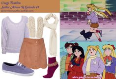Like Sailor Moon Outfits on Facebook!  Requested by: miramay Forever 21 burnout french terry pullover in Purple Forever 21 sequined fray scarf in Cream/Silver Keds Champion Summer lace up shoe in Periwinkle Purple Forever 21 scalloped suedette skirt in Camel A Wear stone cable knit mitten American Apparel girly lace ankle sock in Aubergine/Nude