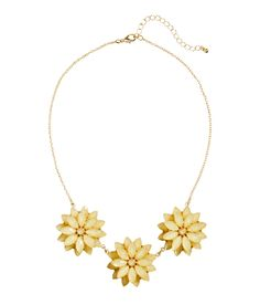 Gold necklace with pastel yellow flower pendants and faceted beads. | H&M Pastels