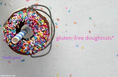 Gluten free doughnuts - like, REALLY GOOD gluten free doughnuts. Gluten Free Doughnuts, Gluten Free Snacks, Wheat Free Baking, Doughnut Pan, Large Pizza, Wheat Free Recipes, Rainbow Sprinkles, Unsweetened Cocoa, Macaroons
