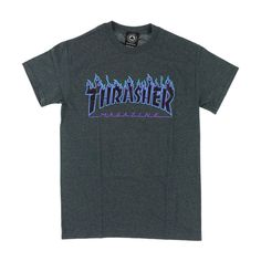 Thrasher Flame Logo Dark Heather T-Shirt ❤ liked on Polyvore featuring tops, t-shirts, raglan shirts, raglan t shirt, raglan baseball shirts, raglan sleeve shirts and raglan sleeve baseball shirt