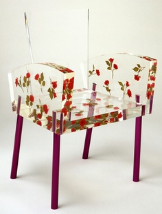 Shiro chair  Clear acrylic with encapsulated roses