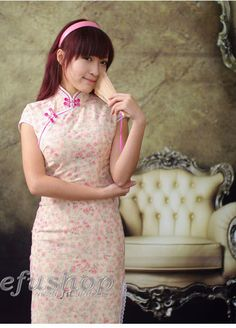 Pink Cotton Cheongsam SCO70 - Custom-made Cheongsam,Chinese clothes, Qipao, Chinese Dresses, chinese clothing,EFU Tailor Shop