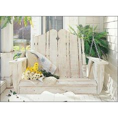 I love the look of this Nantucket Outdoor Porch Swing - I want this for my front porch! Outdoor Rooms, Outdoor Gardens, Outdoor Living, Outdoor Decor, Outdoor Furniture, Porch Furniture, Wooden Furniture, Furniture Ideas, Porche Shabby Chic