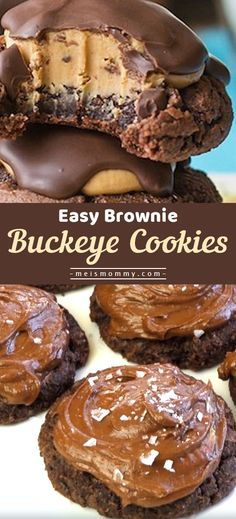 All About Recipes Buckeye Brownie Cookie Recipe, Buckeye Dessert, Buckeye Cookies, Chocolate Chip Cookie Dough, Brownie Recipes, Peanut Recipes, Drop Cookies, Yummy Cookies, Köstliche Desserts