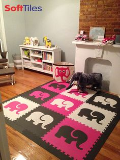 Here's a fun play mat for a girl's playroom. An Elephant Play Mat custom cut from the SoftTiles Safari Animals. Choose from any of our four Safari Animals. #playrooms #SoftTiles