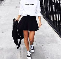 Outfits that will give them pure envy. Amazing style skater skirt outfits ideas - Outfits that will give them pure envy. Amazing style skater skirt outfits ideas You are in the right - Fashion Mode, Urban Fashion, Womens Fashion, 90s Fashion, Minimal Fashion, Paris Fashion, Street Fashion, Spring Fashion, Fashion Trends