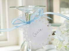Make Simple Drink Tags - White and Blue Bridal Shower Brunch on HGTV