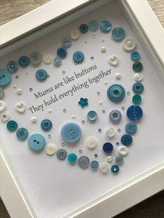 Mums Button Art Heart Picture Heart Gift Mum Mother Step