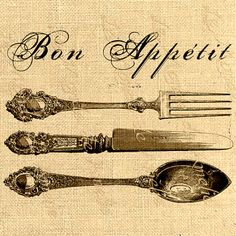 Bon Appetit knife spoon fork food kitchen vintage ephemera for iron transfer for fabric napkins tea towel handbag pillow Sheet n.221
