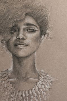 "'Elusive' [detail] by www.saragolish.com graphite conte on toned paper 16"" x 25"" #portrait #drawing #liannelahavas giclee prints available art@saragolish.com"