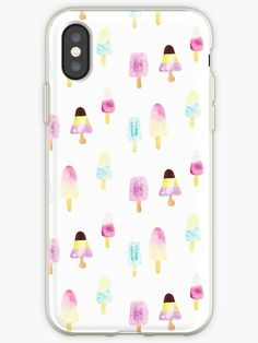 'popsicles summer watercolor pattern' iPhone Case by aninesatelier Watercolor Design, Watercolor Pattern, Skin Case, Iphone Wallet, Iphone Case Covers, Cotton Tote Bags, Ipad Case, Decorative Throw Pillows, Feminine