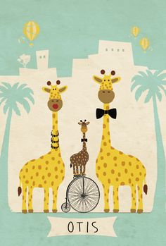 Adoptiekaartje Otis - achterkant - Pimpelpluis - https://www.facebook.com/pages/Pimpelpluis/188675421305550?ref=hl (# giraf - fiets - familie - palmbomen - ballon - luchtballon - dieren - lief -  origineel)