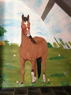 Paard muurschildering betaalbaar van joan of arts