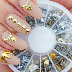 120 개 골드/실버 금속 네일 아트 장식 장식 모조 다이아몬드 팁 금속 스터드 네일 스티커 03LT