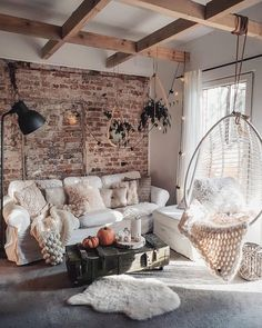Cozy living room design with hanging chair and exposed brick and exposed beams Elegant Living Room, Cozy Living Rooms, Living Room Interior, Home And Living, Living Room Brick Wall, Brick Wall Decor, Brick Interior, Bedroom With Brick Wall, Kitchen With Living Room