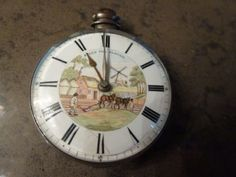 ANTIQUE SILVER HAND PAINTED DIAL POCKET WATCH Pendant Watch, Pocket Watch, Antique Silver, Porcelain, Enamel, Clock, Hand Painted, Watches, Antiques