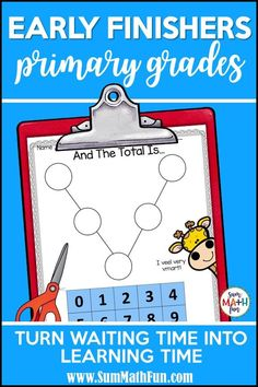 "Do you need early finishers activities for your kindergarten, first grade, and grade kids? Try these math challenges and never hear, ""I'm Done. There are 20 no prep, just print activities that are perfect for your early finishers board. Math Early Finishers, Early Finishers Activities, Fun Math Activities, Math Resources, Math Enrichment, Math Challenge, Math Problem Solving, Primary Maths, Learning Time"
