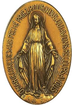 The Miraculous Medal and its story here:  http://corjesusacratissimum.org/2012/06/saint-catherine-laboure-and-our-lady-of-the-miraculous-medal/