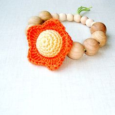 Happy solar flower teething toy Natur brown by MiracleFromThreads, $15.00