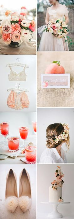 How To Create A Peach Colour Themed Wedding Using Flowers Bridesmaids Cakes And Decor. 0001 Colour Story: Peaches And Cream.