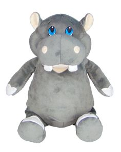 CUBBIES™ GREY HIPPO STUFFIE WITH PERSONALIZED EMBROIDERY