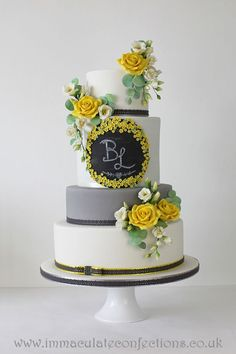 Grey and Yellow Chalkboard Wedding Cake Wedding Cakes - Award Winning Cakes by Natalie Porter - Hertfordshire, London and Essex Succulent Wedding Cakes, Purple Wedding Cakes, Yellow Wedding, Cake Wedding, Dream Wedding, Chalkboard Cake, Chalkboard Wedding, Pretty Cakes, Beautiful Cakes