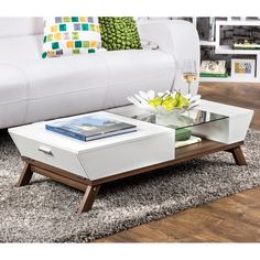 Furniture of America Kress Glass Insert Mid-century Style Coffee Table ($218) ❤ liked on Polyvore featuring home, furniture, tables, accent tables, white, door table, mid century table, white rectangle table, rectangular table and white coffee table
