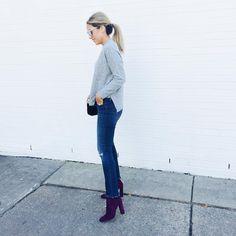 ALEX GARZA | frayed skinny jeans + plum booties | fashion // street style