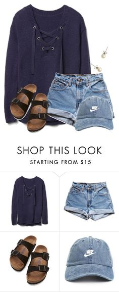 """~w e d n e s d a y~"" by flroasburn ❤ liked on Polyvore featuring Gap, Levi's, Birkenstock and J.Crew"