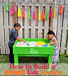 Learn how to build a raised kids sandbox! This DIY project is perfect for Summer fun and when they are done playing be sure to wash their clothes in new all® Fresh Tropical Mist™ #BringTheTropicsHome #ad