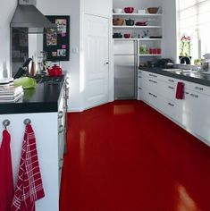Red Floors On Pinterest Red Floor Red Kitchen And Tile Bathrooms