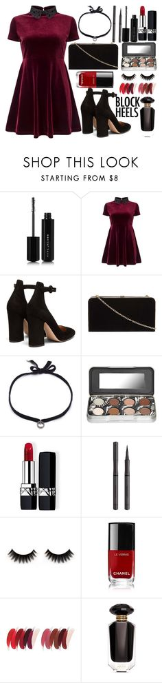 """""""Velvet Skater Dress"""" by princess13inred ❤ liked on Polyvore featuring Marc Jacobs, Miss Selfridge, Gianvito Rossi, Dorothy Perkins, DANNIJO, Christian Dior, Burberry, Chanel and Victoria's Secret"""