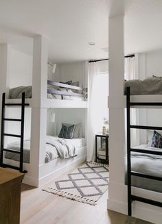This is such a fun bunk room with built-in bunks and soft layers of pattern that feel like a subtle bohemian update on traditional. Read for images, details, and sources! Bunk Beds With Stairs, Cool Bunk Beds, Kids Bunk Beds, Adult Bunk Beds, Built In Bunks, Modern Bunk Beds, Bunk Rooms, Bunk Bed Designs, Loft Spaces