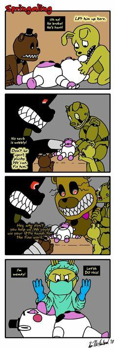 Springaling Acchonburike by on DeviantArt Good Horror Games, Rpg Horror Games, Fnaf 1, Anime Fnaf, Five Nights At Freddy's, Stupid Funny Memes, Funny Fnaf, Freddy 's, Fnaf Sister Location