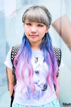 Blue-Pink Dip Dye Hair in Harajuku