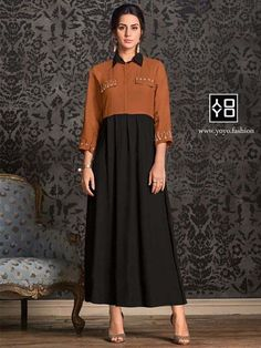Lovely collection of kurti available at best price. Buy this rayon black and brown casual kurti. Diwali Dresses, Diwali Outfits, Formal Wear, Casual Wear, Designer Kurtis Online, Latest Kurti, Kurti Collection, Gowns Online, Black Party