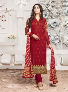 Red Georgette Churidar Suit 80028