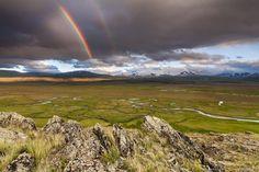 Double rainbow over Ukok Plateau in the Altai Republic, Russia