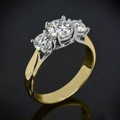 Ladies Brilliant Cut 1.00 Carat Diamond 10K Gold Plated Three Stone Wedding Ring #br925silverczjewelry #ThreeStone