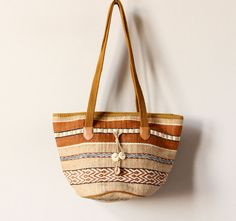 Boho Basket Bag, woven jute rope striped hippie purse, 80s 90s oversized soft bucket handbag, neutral earth tone beach tote, tan, chestnut.