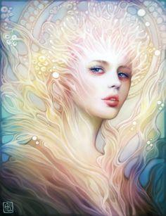 Anna Dittmann — worx - Anna Dittmann is a 20 years-young illustrator from Savannah, Georgia. Arte Coral, Coral Art, L'art Du Portrait, Digital Portrait, Digital Art, Fantasy Kunst, Fantasy Art, Illustrator, Greek Gods And Goddesses