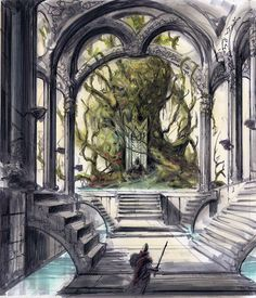 Sheogorath Throne Room Concept Art If they ever remake the Shivering Isles DLC, they so should do this.