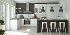 Keittiösaareke toimii myös ruokailupöytänä, jonka äärellä on mukava viettää yhteisiä hetkiä. Kuvassa Cello Purola -keittiö.