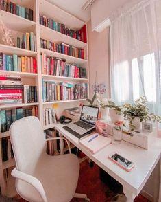 Study Room Design, Study Room Decor, Room Design Bedroom, Girl Bedroom Designs, Room Ideas Bedroom, Home Room Design, Bedroom Decor, Small Bedroom Hacks, Home Office Decor