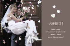 Carte de remerciement de mariage (wedding thank you card) : Cœurs - by Tomoë pour http://www.rosemood.fr #mariage #wedding