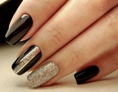 Black nails with silver glitter and vertical striping accents. - Black nails with silver glitter and vertical striping accents. Tape Nail Designs, New Nail Designs, Black Nail Designs, Striped Nail Designs, New Year's Nails, Fun Nails, Nails For New Years, New Years Nail Art, Cute Nails For Fall